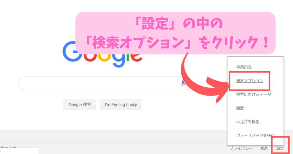 「設定」の中の 「検索オプション」をクリック!